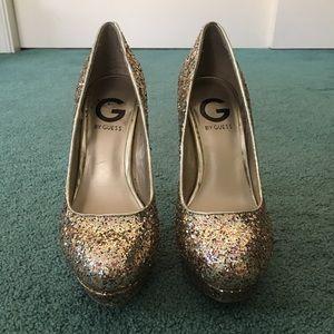 Guess Glitter Block Pumps